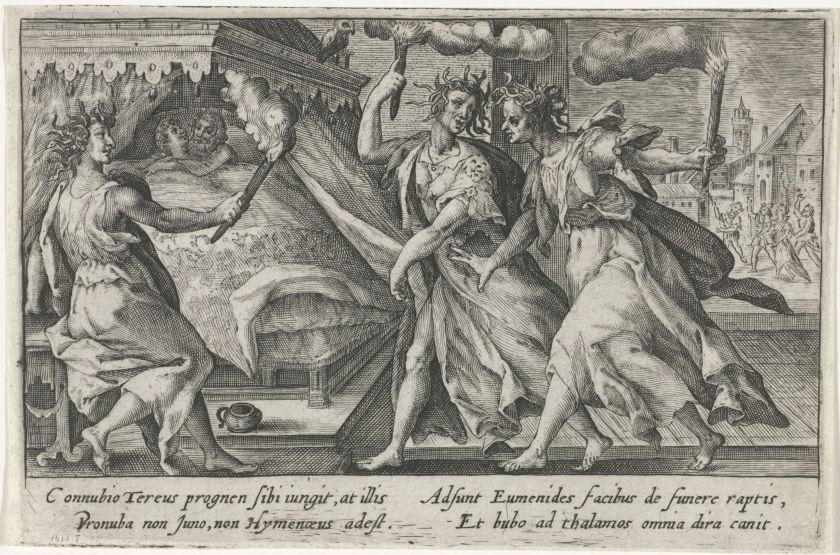 Furiën bij huwelijksnacht Tereus en Procne