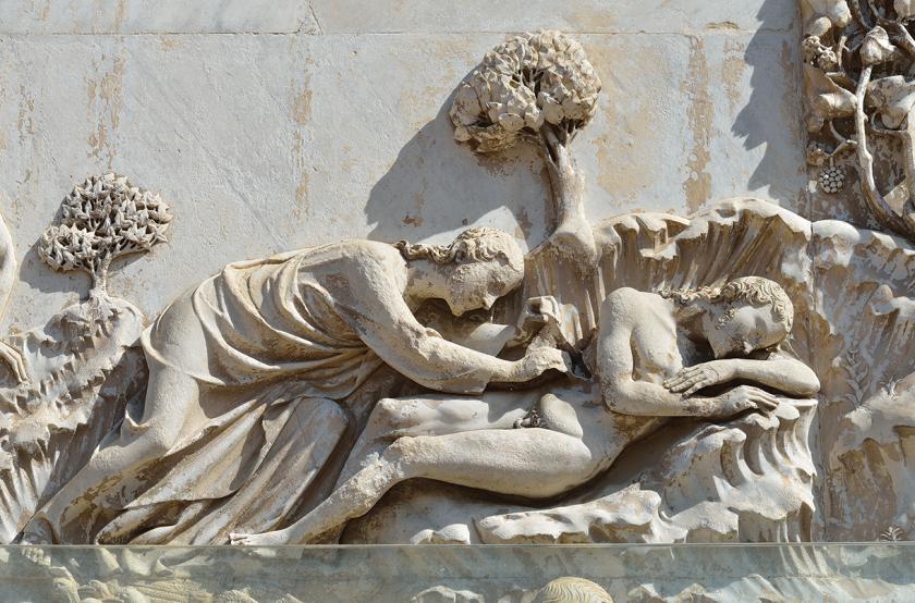 Lorenzo Maitani, God neemt Adams rib (kathedraal van Orvieto), ca. 1310-1330