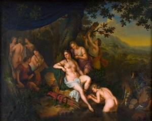 Willem van Mieris, Diana en haar nimfen, 1702
