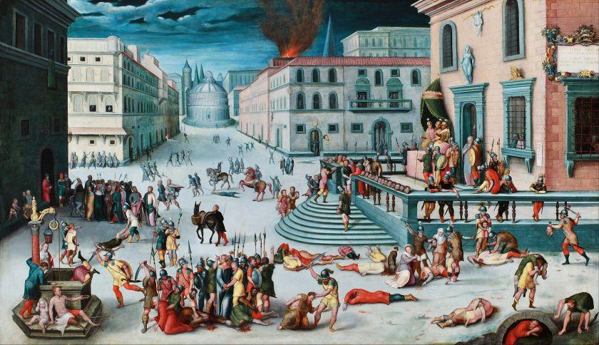 Antoine Caron (navolger van), Le massacre du Triumvirat, ca. 1560-70