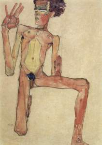 Egon Schiele, Kniender Akt, Selbstporträt, 1910