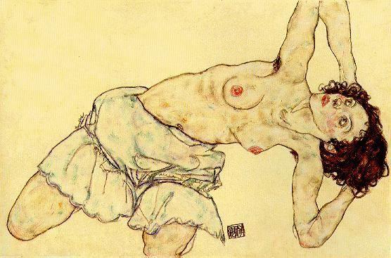 Egon Schiele, Naakte vrouw met rok, 1917