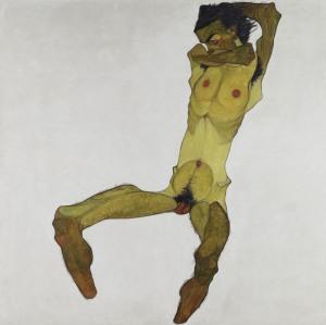 Egon Schiele, Sitzender männlicher Akt, 1910