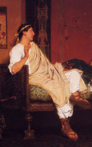 Lawrence Alma-Tadema, Tibullus at Delia's house, 1866 (detail)