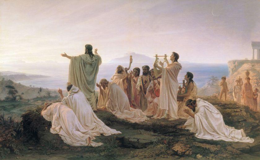 Fyodor Bronnikov, Pythagoreeërs vieren de zonsopgang, 1869