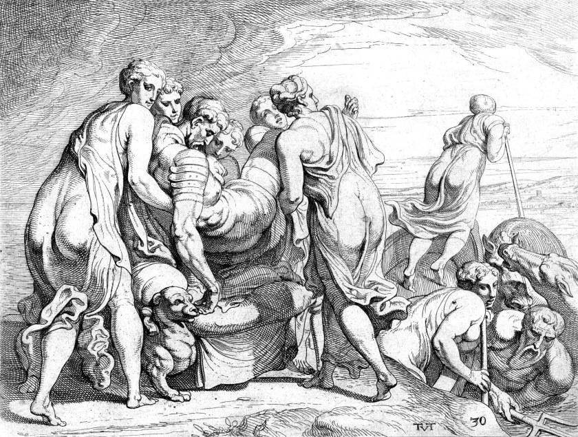 Theodoor van Thulden (naar Francesco Primaticcio), Faiaken brengen de slapende Odysseus naar Ithaca, 1632