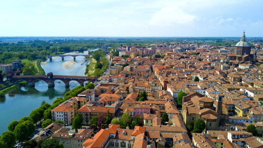 Aerial video shooting with drone on Pavia, famous Lombardia city near the Ticino river in northern Italy