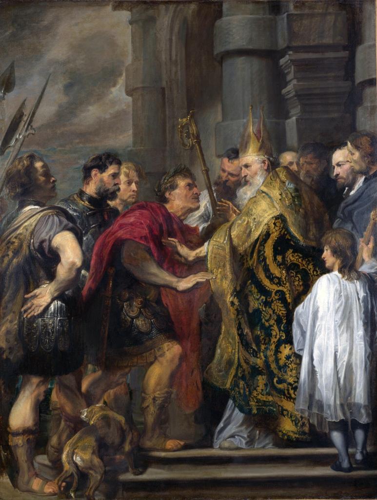antoon van dyck, de heilige ambrosius verhindert keizer theodosius de kathedraal van milaan te betreden, 1619-20