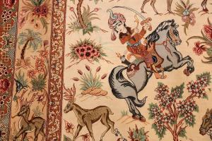 small_modern_silk_persian_hunting_scene_qum_rug_49412_sword_master